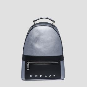 Hammered eco-leather backpack
