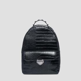 Eco-leather backpack with crocodile effect