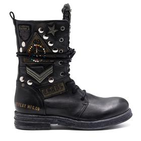 Women's CLETIC leather boots with military patches & studs gwl26 .000.c0045l