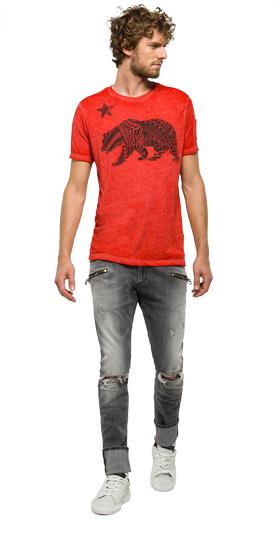 Printed T-shirt with chest pocket m3232 .000.22060g