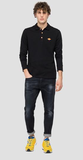 Long-sleeved stretch polo shirt