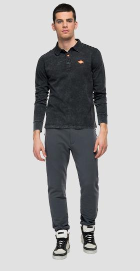 Long-sleeved jersey polo shirt