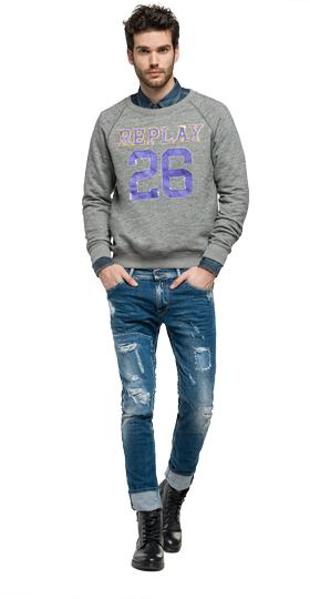 Sweatshirt in Mélange-Optik mit Patches m3449 .000.22500