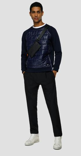 Essential REPLAY sweatshirt in technical fabric quilted at the front