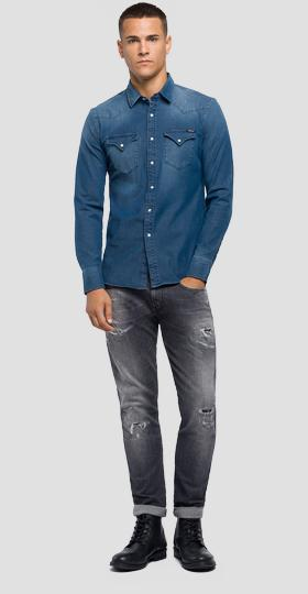 Hyperflex denim slim fit shirt