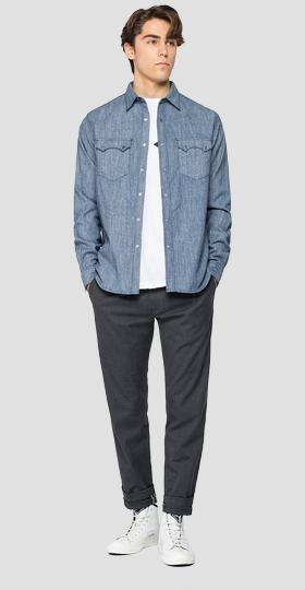 Tailored cotton denim shirt