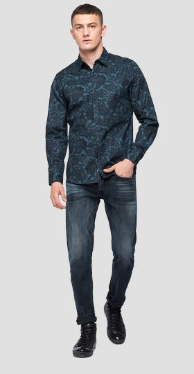 Shirt with all-over paisley print