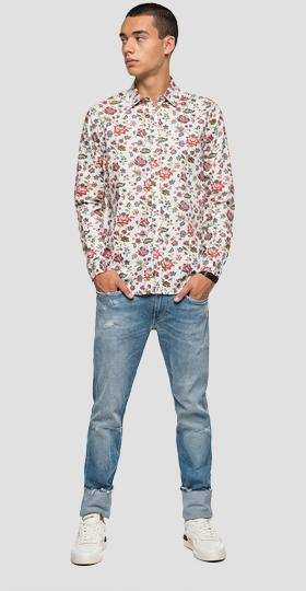 Dobby cotton shirt with floral print