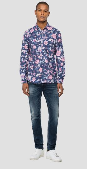 Floral shirt in dobby cotton