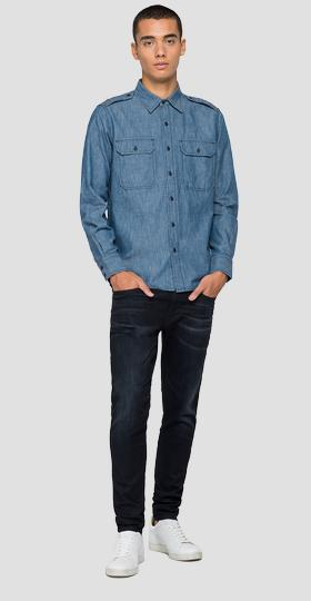 Shirt in cotton and linen denim