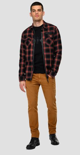 Checked flannel shirt with zipper
