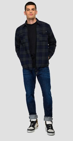 Checked light flannel shirt with full zipper