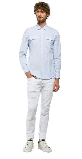 Cotton shirt with chest pockets m4954 .000.51896