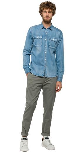 Denim shirt with patch pockets m4962 .000.17c 99a