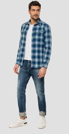 Checked shirt in dobby cotton