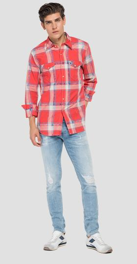Cotton shirt with checked print