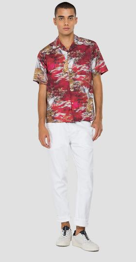 Tiger and palm trees print shirt