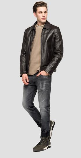 Biker jacket with zipper