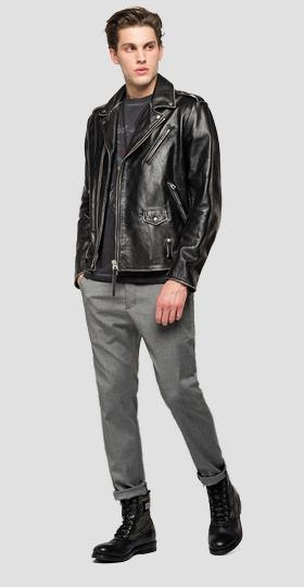 Leather biker jacket with lapels