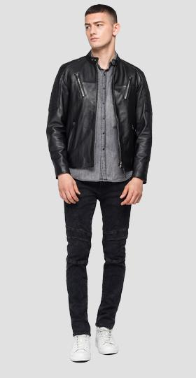 Leather biker jacket with pockets