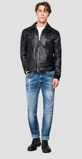 Biker jacket in wrinkled leather