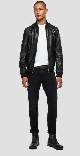 Bomber jacket in leather with pockets
