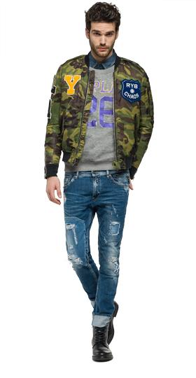 Bomberjacke in Camouflage-Optik mit Patches m8868 .000.71304