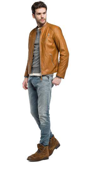 Leather jacket with zip details m8885 .000.82926
