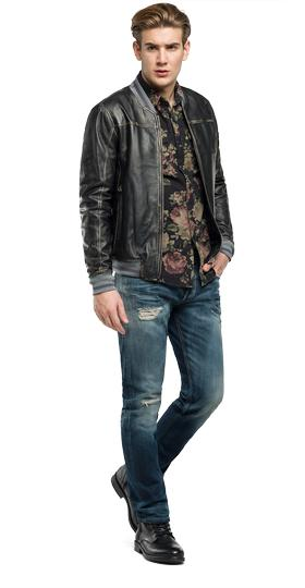 Leather jacket with patch m8889 .000.82928