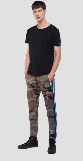 Camo print fleece trousers