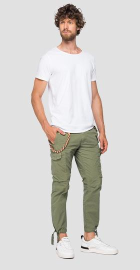 Cargo trousers with straps and chain