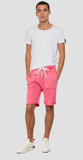 Fleece bermuda shorts with faded effect