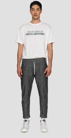 Regular fit trousers in chambray denim