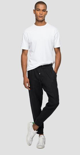 Jogger pants in linen with pockets