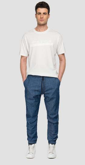 REPLAY SPORTLAB denim jogger pants with drawstring