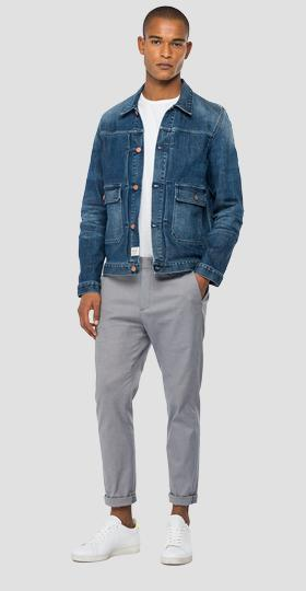 Tailored denim jacket with pockets