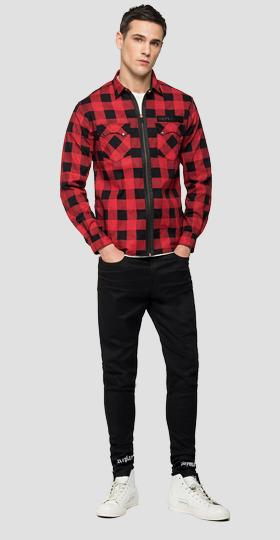 REPLAY NEYMAR NJR Capsule Collection chequered black denim shirt
