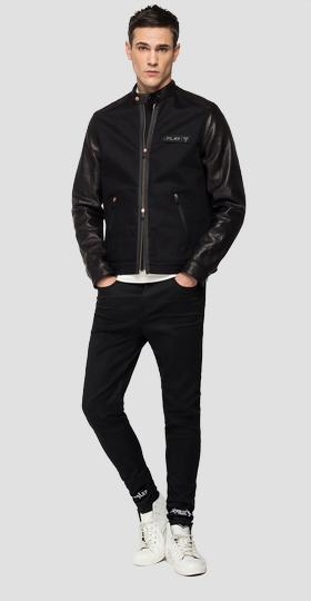 REPLAY NEYMAR NJR Capsule Collection denim and leather biker jacket