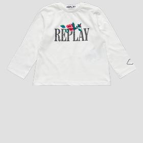 T-shirt with Rose Label REPLAY print
