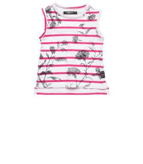 Girls' striped and floral print top pg7452.050.20994p
