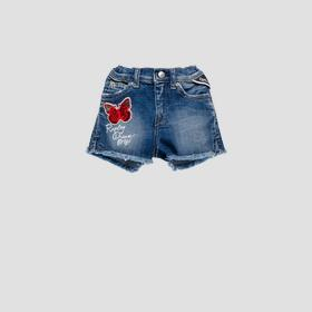 Denim short pants with butterfly
