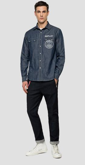 Replay PSG cotton and linen denim shirt.