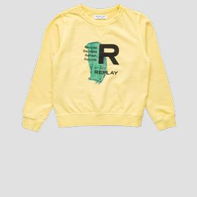 Crewneck REPLAY sweatshirt in bio cotton