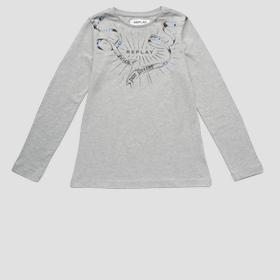 Long-sleeved t-shirt with rhinestones
