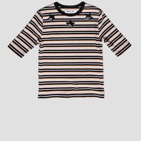 Ribbed striped t-shirt with sequins