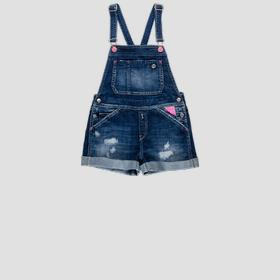 Denim overalls with tears