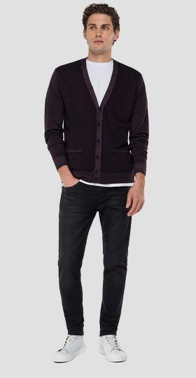 V-neck wool cardigan