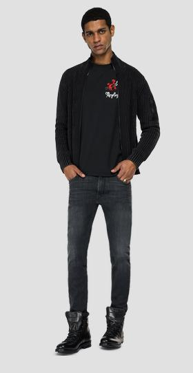 Cotton pullover with zipper