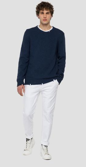 Hyperflex crewneck pullover with abrasions