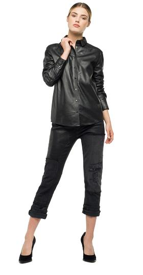 We are Replay leather shirt vd4395.000.v82970
